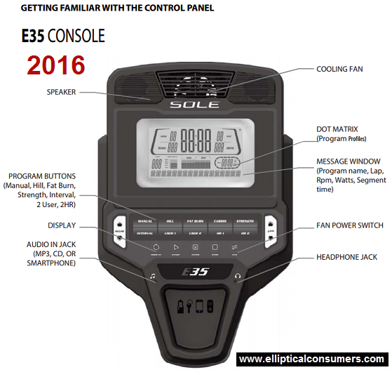 sole e35 elliptical console 2016