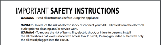 sole e35 elliptical safety instructions