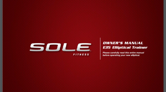 sole e35 elliptical tranier owners manual