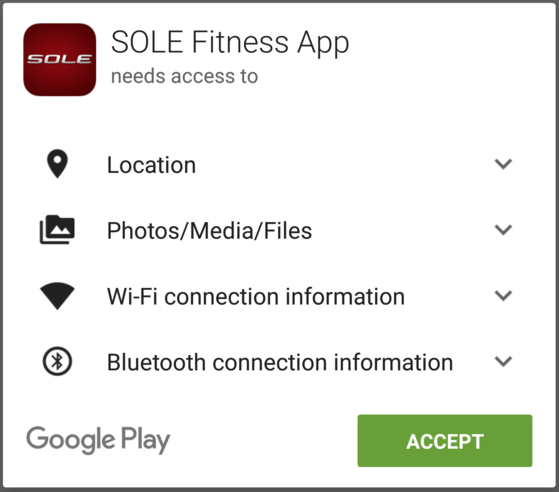 sole fitness app accept