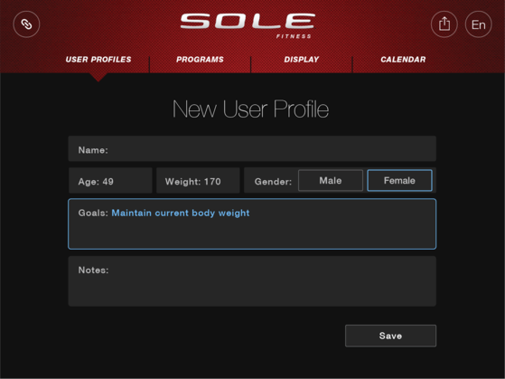 sole fitness app new user profile